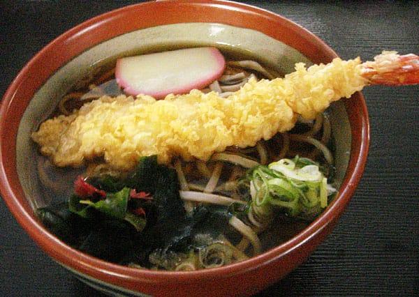 海老天ぷらそば写真