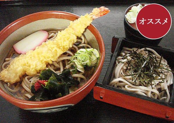 きんしょうじオススメ海老天ぷらそばセット(ミニざる付き)写真