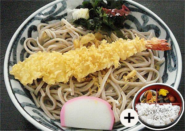 冷やし海老天ぷらそば定食写真